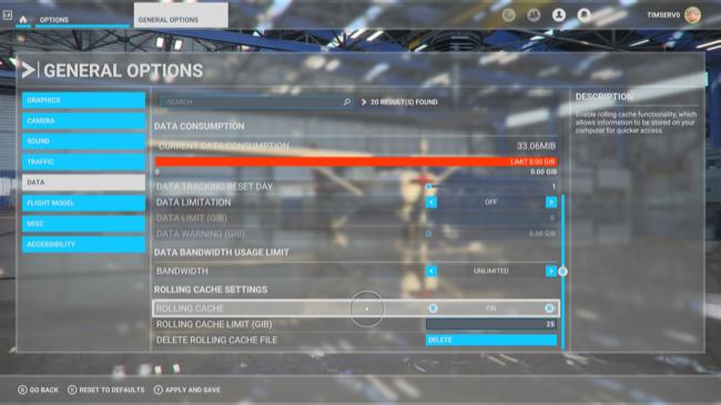 The General Options screen in Microsoft Flight Simulator.