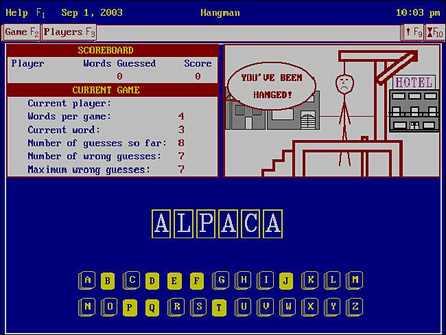Hangman for Tandy DeskMate 3.x on PC