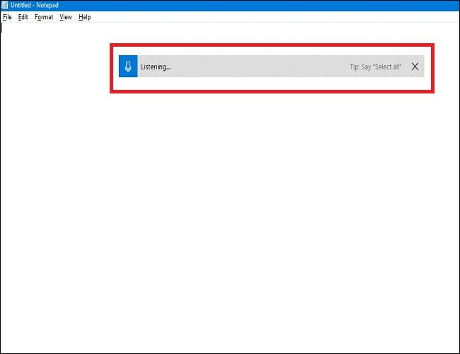 An example of the Windows listening prompt.