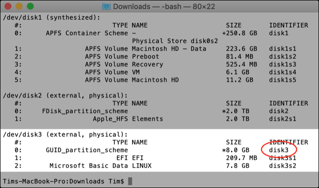 Disk Utility listing drives