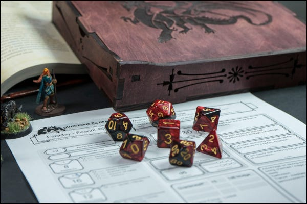 Dungeons and Dragons game set up with dice