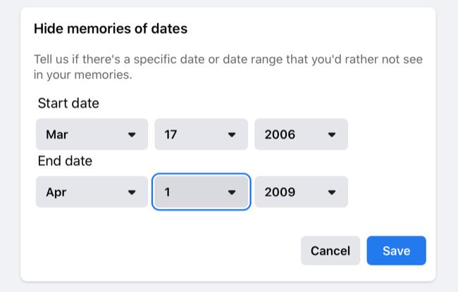Hide Date Ranges in Facebook Memories