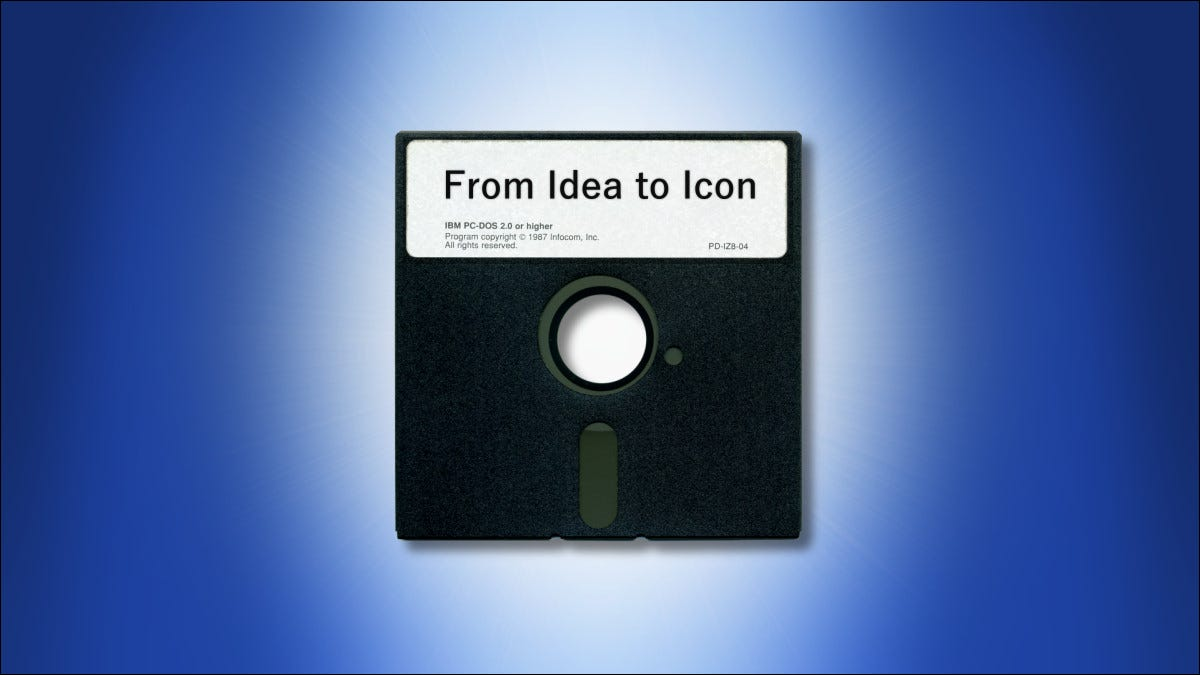 """A 5.25"""" floppy disk on a blue background"""