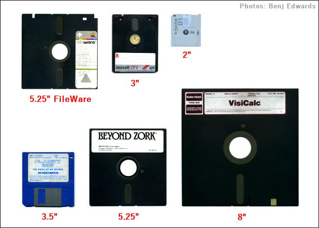 Six different types of floppy disks.