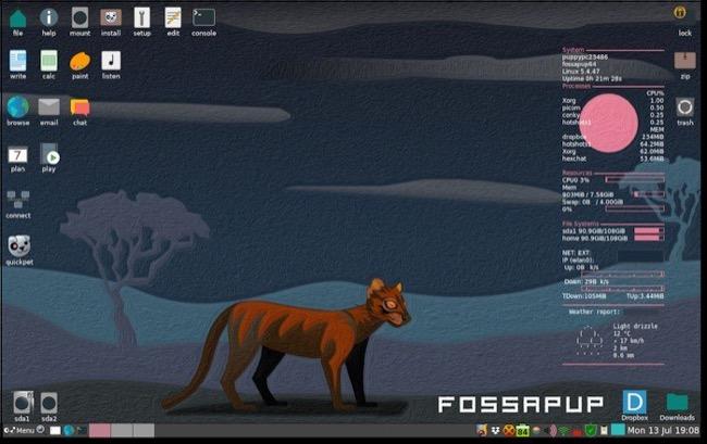 Puppy Linux FossaPup64 9.5 desktop