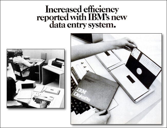 An excerpt from a 1973 ad for the IBM 3740 Data Entry System