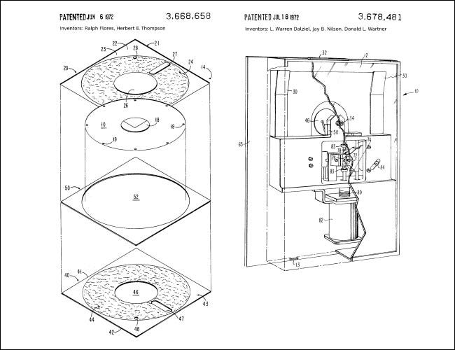 Diagrams from IBM's early floppy drive patents.
