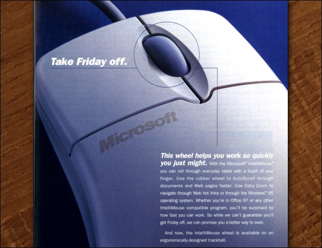 Part of a 1997 magazine ad for the Intellimouse.