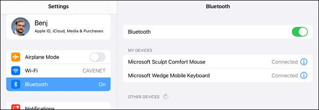 Linking mouse and keyboard in iPad Bluetooth Settings.