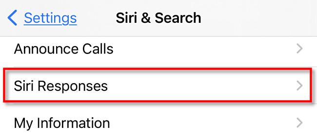"""Tap """"Siri Responses."""""""
