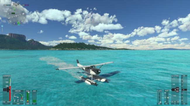 A seaplane landing on the water in Microsoft Flight Simulator.
