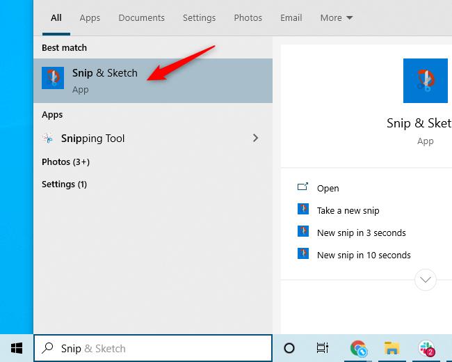 "The ""Snip & Sketch"" application shortcut in Windows 10's Start menu."