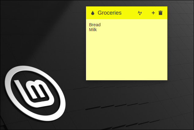 Sticky Notes App 20.2 in Linux Mint