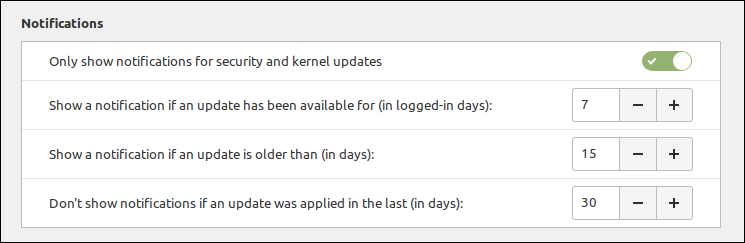Update notification configuration in Linux Mint 20.2