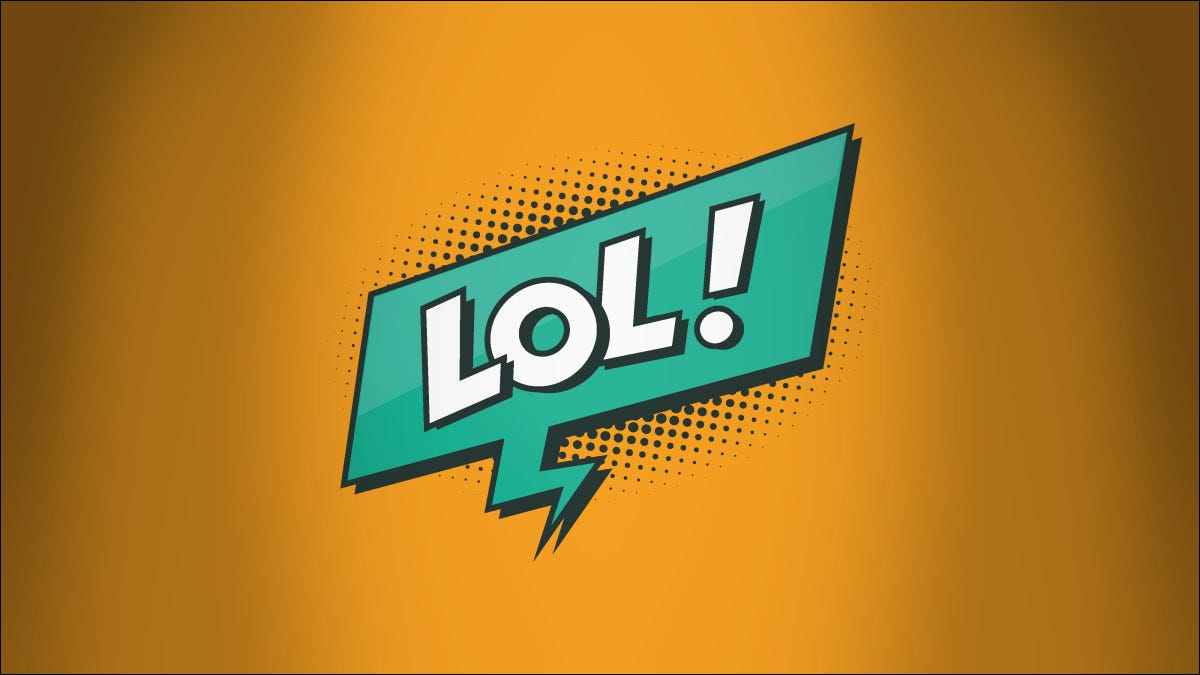 """""""LOL"""" in a green word bubble on an orange background"""