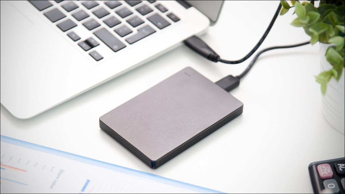 External hard drive attached via USB to a MacBook