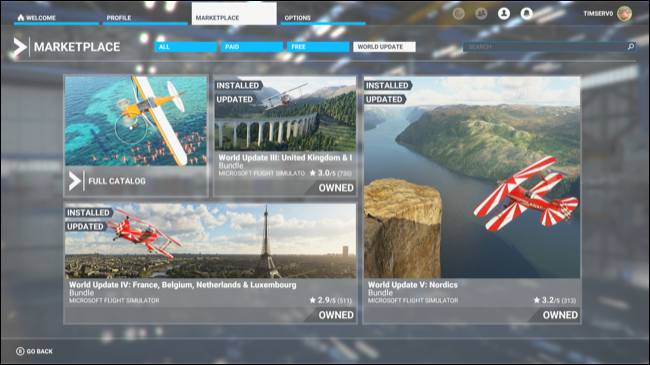 The Microsoft Flight Simulator Marketplace.