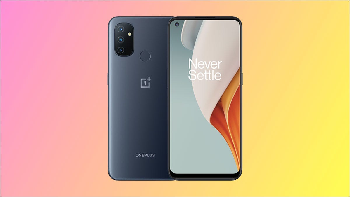 OnePlus Nord N100 on a colorful background