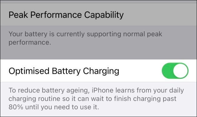 Optimized Charging feature for iPhones