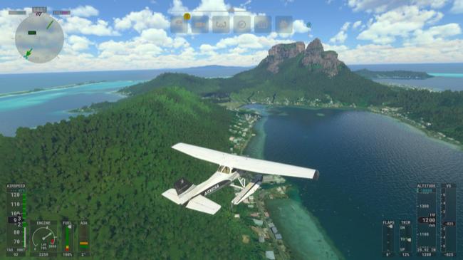 Flying through the sky over an island in Microsoft Flight Simulator.