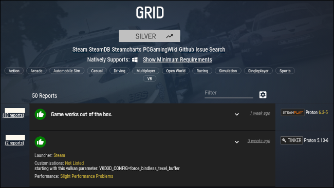 Game rating on ProtonDB