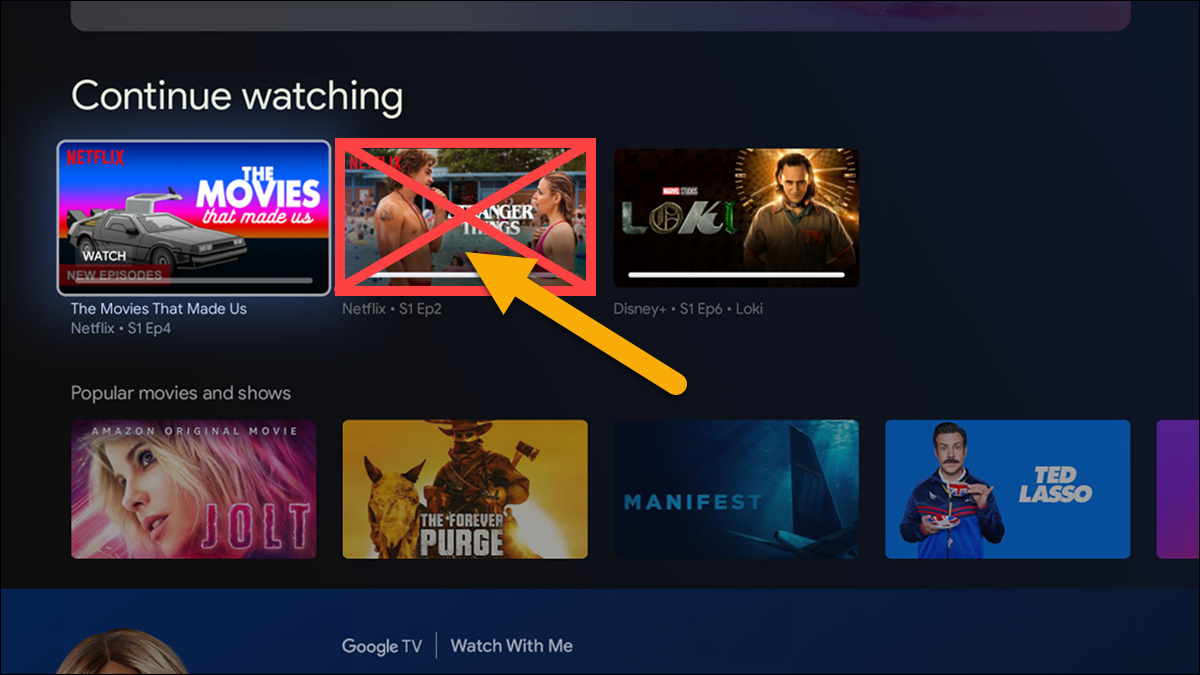 """Removing a video from your Google TV """"Continue watching"""" row."""