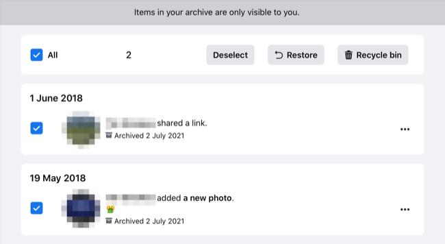 Restoring Archive Posts on Facebook.com