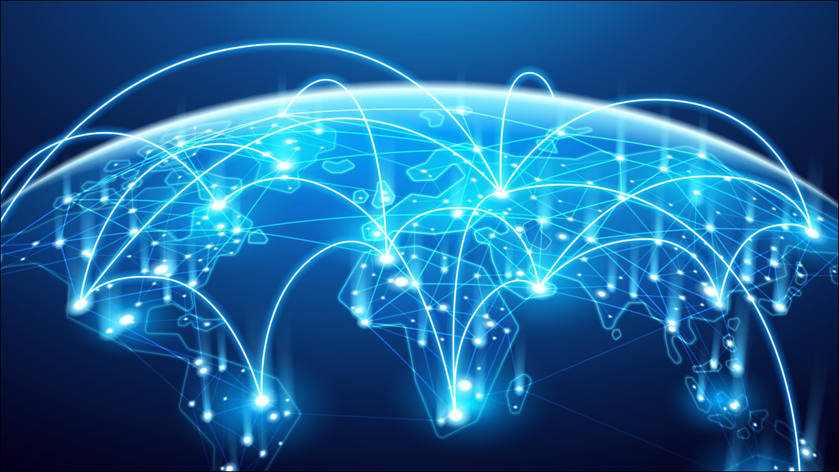 An abstract image of digital connections around the world.
