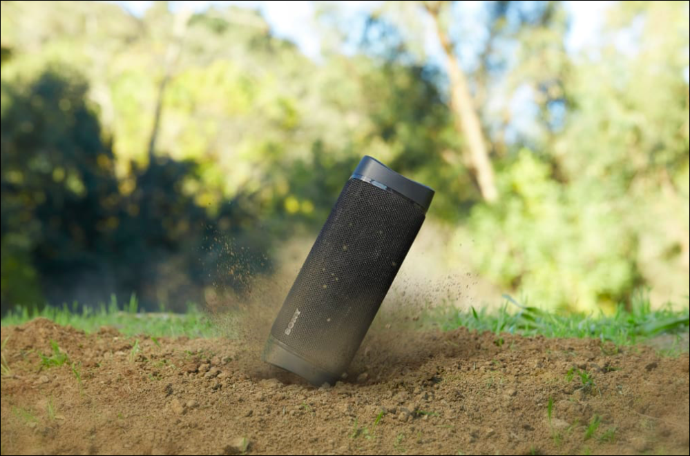Sony SRS-XB33 hitting ground and throwing up dirt
