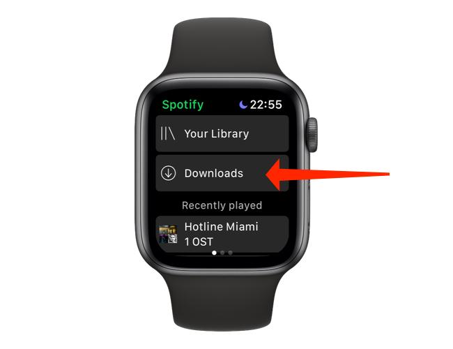 """Кран """"Загрузки"""" чтобы проверить, какие песни или подкасты были загружены в приложение Apple Watch Spotify."""