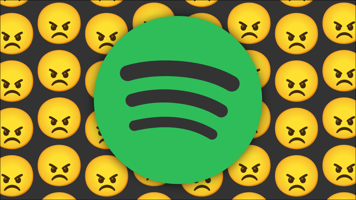 Spotify logo with angry faces.