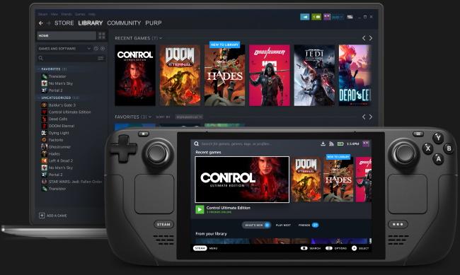 Una libreria di giochi mostrata in Steam Deck e su un laptop con Steam.