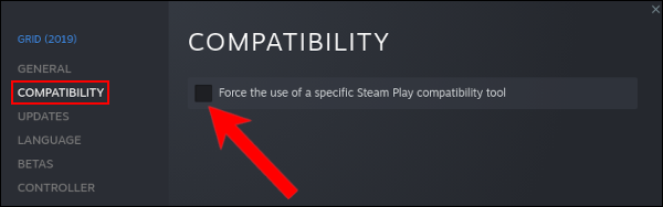 """Select the Compatibility tab and check the option """"Force the Use of a Specific Steam Play Compatibility Tool"""""""