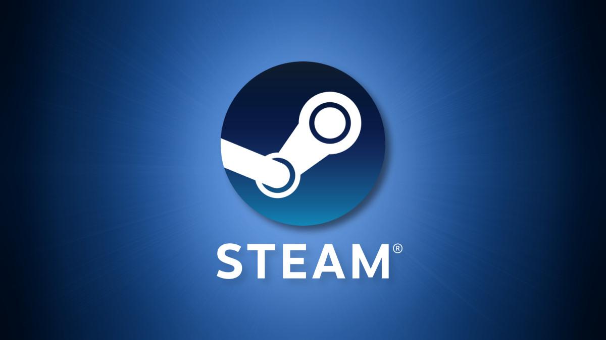The Valve Steam logo on a blue background