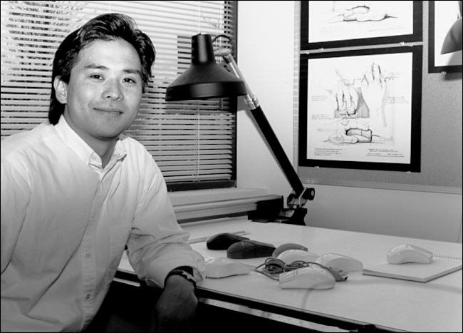 Steve Kaneko designing mice at Microsoft, early 1990s.