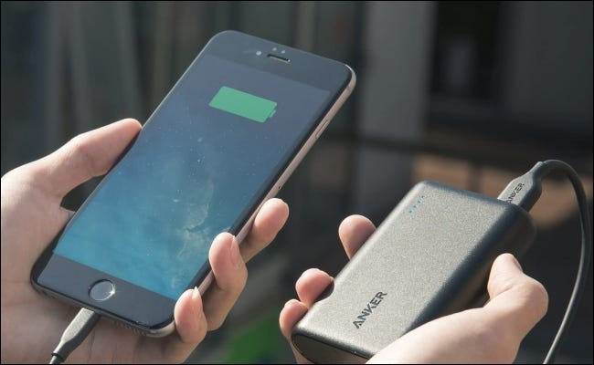 anker powercore charging a phone