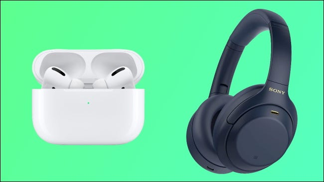 Sony headphones and apple airpods on green background