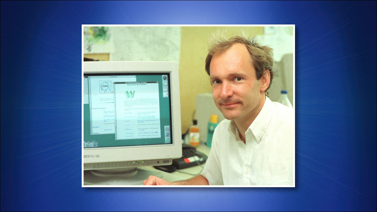 A photo of Tim Berners-Lee in 1994.