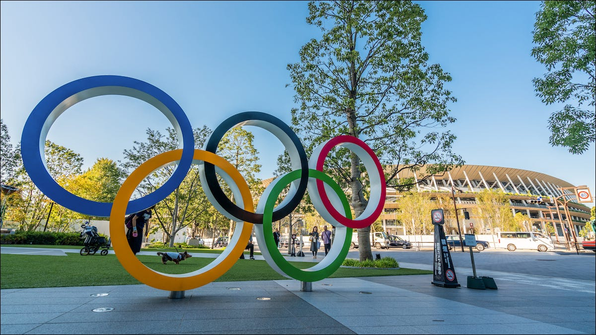 The Olympic rings in Tokyo Japan