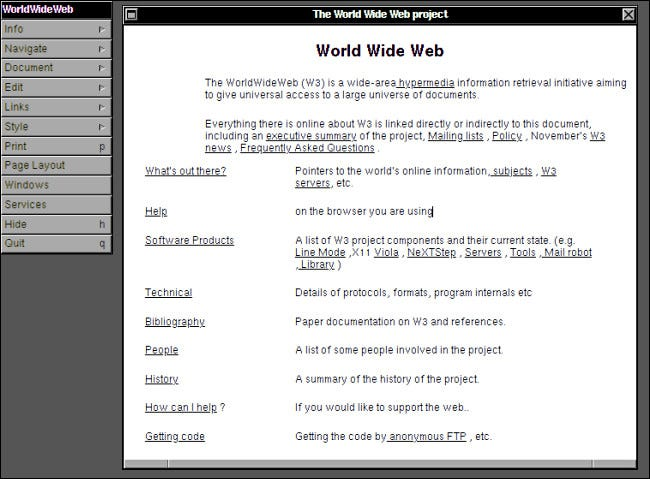 The first website running in the WorldWideWeb browser on NeXTSTEP.