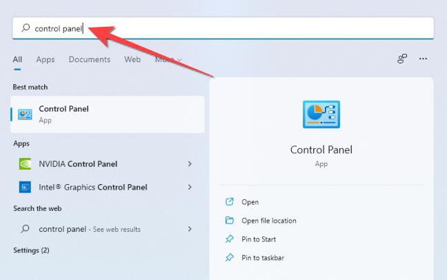 """Fare clic su Start, digitare """"Pannello di controllo"""" nella ricerca di Windows e premere Invio per avviarlo."""