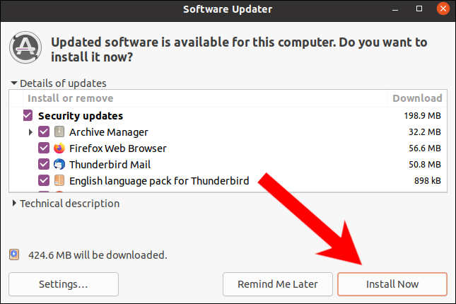 Click Install Now on Software Updater