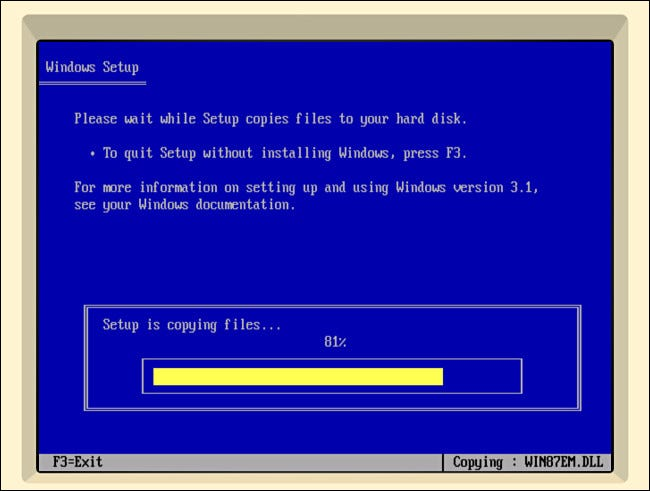 Copying files for Windows 3.1 setup in iDOS 2 on iPad.