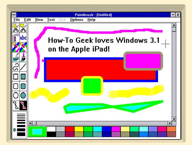 Paintbrush in Windows 3.1 in iDOS 2 on iPad.
