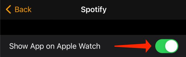 """Чтобы убедиться, что Spotify также есть на ваших Apple Watch, убедитесь, что """"Показать приложение на Apple Watch"""" опция включена."""