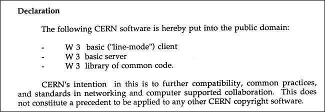 An excerpt from the April 1993 document declaring the web as public domain.
