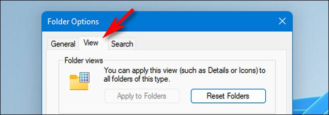 """In Folder Options, click the """"View"""" tab."""