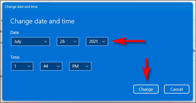 """Change the time and date with the drop-down menus, then click """"Change."""""""