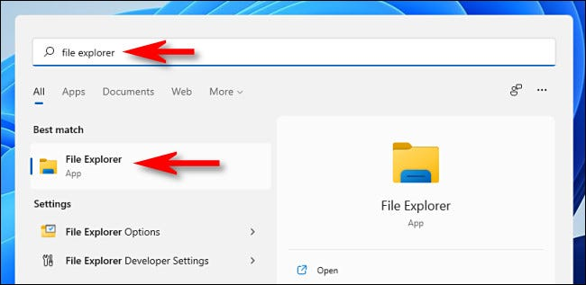 """Open Start and type """"file explorer,"""" then hit Enter."""