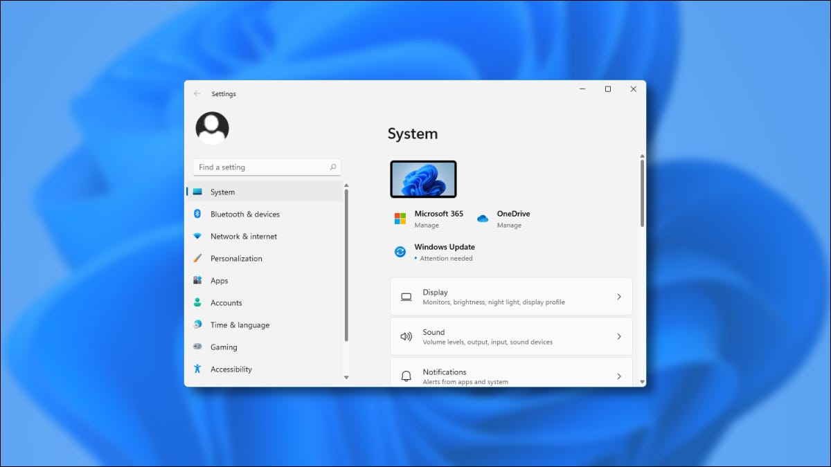 The Windows 11 Preview Settings Window